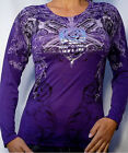 Sinful by Affliction CAMELLIA Woman's Long Sleeve T-Shirt - S1880 - NEW - Purple