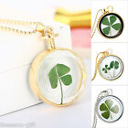GIFT Gold Plated Diamante Dried Four Leaf Clover Pendant Necklace Women