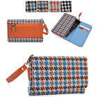 Houndstooth Protective Wallet Case Clutch Cover for Smart-Phones ECAMMT-3