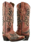 womens red wings cross rhinestones studs leather western cowboy boots new