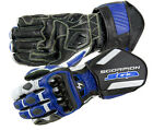 Scorpion Mens Blue/Black/White SG3 Leather Motorcycle Gloves