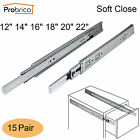 12-22in Side Mount 100lb Ball Bearing Soft Close Drawer Slides/Glides 15Pairs