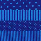 COBALT BLUE SPOTS & STRIPES 4 TO CHOOSE FROM CRAFT QUILT FABRIC Free Oz Post