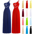 Stock New Chiffon Long Beaded Bridesmaid Dress Club Prom Party Evening Ball Gown