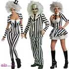 Adult Beetlejuice Costume Mens Womens 80s Ghost Halloween Fancy Dress Outfit