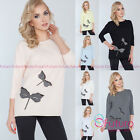 Womens Everyday Top Dragonfly Patchwork 3/4 Sleeve Jumper Shirt Size 8-12 FT2586