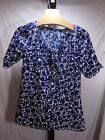 MISSES NAVY BLUE WHITE MID CENTURY MODERN PRINT WASHABLE TOP BLOUSE SHIRT IZOD S