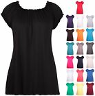 Womens Plus Size Short Sleeve Ladies Elasticated Neck Long Tunic Plain Gypsy Top