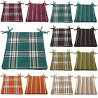 Chenille Tartan Check Striped Zipped Kitchen Foam Chair Seat Pads, Multi Listing