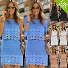 Womens Club 2 Piece Floral Crochet Crop Top Bodycon Skirt Cockatail Dress Set