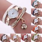 Women's Fashion Ladies Faux Leather Wrap Rhinestone Analog Quartz Wrist Watches