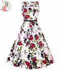 LADY VINTAGE 50s style HEPBURN VIOLET SKETCH FLORAL DRESS WHITE