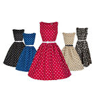 HIGA Women Halter Summer Retro Dots Elegant Sleeveless Dress Skirt With Belt