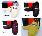 Men's GIOVANNI faux leather slip on shoes Beige Black Yellow Brown White M788-22