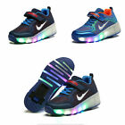 Kids Girls Boys LED Light Retractable Auto Push Button Wheels Roller Skate Shoes