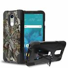 For LG Stylo 4 Hybrid Shield Armor Kickstand Case Camo Carbon Fiber Cover