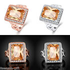 GIFT Women Square Gold Zircon Stone Rhinestone Ring Jewelry Size 8