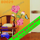 Wall Paper Decal Stickers Home Living Bed Room Decoration Butterfly Rose B0029