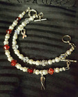 Hand Crafted Silver and Red Diabetes Awareness Bracelets with Toggle Closure
