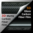 3D OR 5D Premium Matte or Full Gloss Black Carbon Fiber Vinyl Wrap Sticker Film