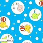 BACKYARD CIRCUS ELEPHANT BUBBLE BLUE KIDS COTTON FABRIC *Free Oz Post