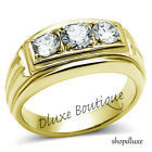 MEN\'S ROUND CUT SIMULATED DIAMOND 14K GOLD PLATED STAINLESS STEEL RING SIZE 7-15