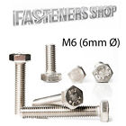Hexagon Head Bolts / Screws DIN 933 A2 Stainless Steel M6 (6mmØ) Various Lengths
