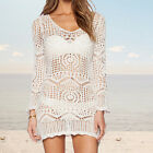 Fashion Casual Sexy Hollow Out Short White Lace Dress Beach Dress With Belt