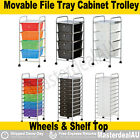 Movable File Tray Storage 4/10 Drawer Plastic Cabinet Metal Trolley Shelf PICKUP