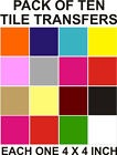 "4"" Tile transfers stickers tile decals pack of 10 wide choice of colours"