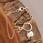 Sterling Silver Bracelet Infinity Love Knot Freshwater Pearl + Personalised  Tag