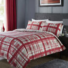 SUPERB RED CHECK DESIGN  DOUBLE or KING SIZE DUVET COVER SET WITH PILLOWCASES.