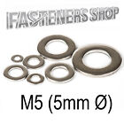 Size M5 (5mm Ø) Flat Washers A Type DIN 125 A Stainless Steel A2