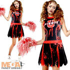 Zombie Cheereader Ladies Halloween Fancy Dress Womens Adults Costume + Pom Poms