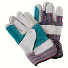 SDI 12 Pairs Natural Cow Split Leather Striped Cotton Rubberized cuff Work Glove