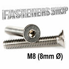 Size M8 (8mm Ø) Countersunk Bolts / Screws DIN 7991 Stainless Steel A2