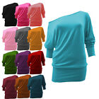 New Ladies Womens Off Shoulder Top Shirt Long Sleeves Loose Casual Tops 8-26