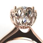 Reyna Round Moissanite Cathedral Window Filigree Ring