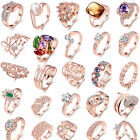 32 Style Women's White Topaz Gems Rose Gold Plated Wedding Party Ring Size 5-9