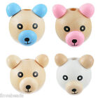 LOVE 5x Lovely 3D Ear& Nose Little Bear Wooden  2.6x2.9cm M13864