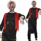 Mens Zombie Priest Fancy Dress Costume High Robe Halloween Adult Outfit