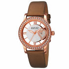 Wristwatches - Womens August Steiner AS8176 Swarovski Crystal Bezel Date Satin Leather Watch