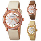 Women's August Steiner AS8176 Swarovski Crystal Bezel Date Satin Leather Watch