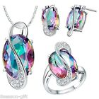 GIFT Women Fashion Silver Plated Multicolour Gem Diamante Jewelry sets