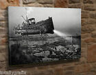 Extra Large Canvas Wall Art Picture Print Steampunk Boat Ship Gothic Goth  KA34