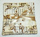 COASTER SET~Set Of 4~MUSICAL DESIGNS~Reversible~Washable~Lined~NEW~FREE SHIP