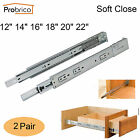 Rear/Side Mounting Drawer Slides With Brackets Soft Closing Ball Bearing 2Pairs
