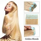 """Tape In Weft Skin Real Remy Human Hair Extensions Straight 16""""-26"""" Golden Blonde"""