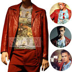 New Brad Pitt Tyler Durden Fight Club Costume Red Leather Vintage Jacket Coat