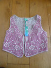 MONSOON POLLY PINK WHITE EMBROIDERED BEADED WAISTCOAT 3 4 5 6 7 8 9 10 11 12 13